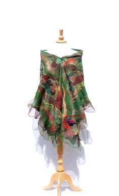 Nuno Felted scarf Felted scarf Nuno felted shawl felt by AnnaWegg