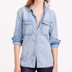 J. Crew Chambray Shirt Cotton. Long roll-up sleeves. Chest pockets. Machine wash. Import. J. Crew Tops