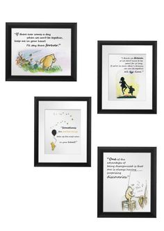 Classic Winnie the Pooh & Friends, Pooh bear Quotes, FOUR Instant download digital images, Baby room, Wall decoration, Friendship messages