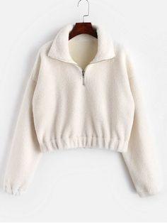 d442c82928f50 ZAFUL Women Half Zip Sweatshirt Fluffy Top Pullover Long Sleeve Casual  Outwear Sweatshirts Online