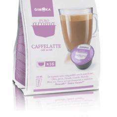 Gimoka Caffelatte Dolce Gusto kompatibilis kávékapszula  16 ital készíthető belőle.  Ha szereted a Cafe Au Lait Dolce Gusto italt, akkor ezt imádni fogod. Lágy tejeskávé, teli energiával. Egy rész erőteljesen pörkölt Arabica kávé és egy rész gőzölt tejhab. Egy igazi klasszikus Caffelatte azaz Cafe Au lait.