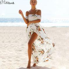 VITIANA Brand Women 2017 Summer Boho Style Beach Dress Off Shoulder Vintage White Maxi Long Dresses Vestidos De Festa