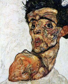 drawpaintprint:    Egon Schiele: Self-Portrait with Naked Shoulder, 1912, Wien, Leopold Museum