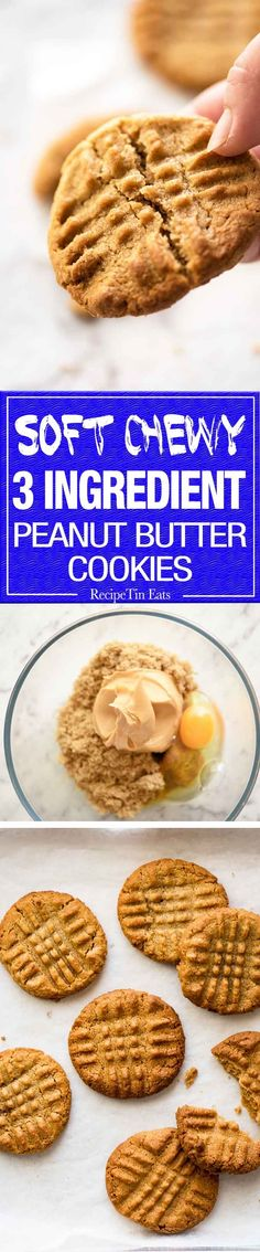 The World's Best Easy Peanut Butter Cookies are SOFT and CHEWY. Peanut butter, brown sugar and egg is all you need! www.recipetineats.com