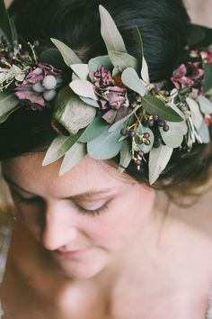 Hair wreath created with bay leaf, juniper berry, banksia pod, eucalyptus, and…