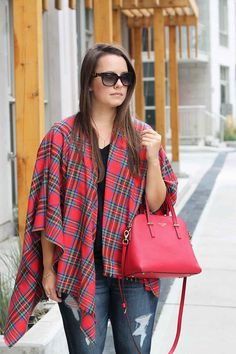 Red Plaid Poncho Shawl | Plaid Blanket Scarf with Frayed Edges