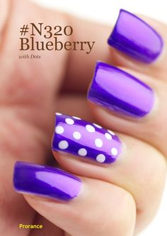 Blue Berry with dots nail art manicure #nails