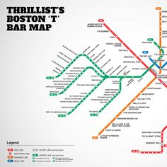 Introducing the first Boston T bar map.  They're missing a few, but not a bad list.  Don't forget your Charlie Card!