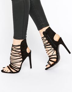 Public Desire Anina Caged Strap Heeled Sandals