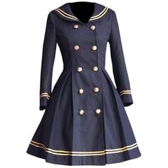 Partiss Womens School Uniforms Dress Japanese Anime Classic Sailor... ❤ liked on Polyvore featuring outerwear, coats, animal coat, blue coat and sailor coat