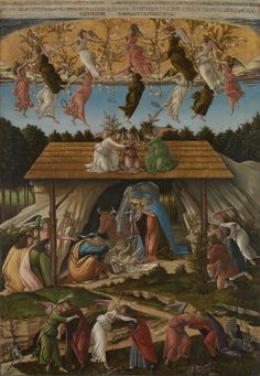 Mystic Nativity / La Natividad Mística // 1500 // Sandro Botticelli // National Gallery, London // Shepherds & wise men have come to visit the new-born king.Angels in the heavens dance & sing hymns of praise.On earth they proclaim peace,joyfully embracing virtuous men while seven demons flee defeated to the underworld // #Jesus #Christ #Christmas #Navidad #Natale