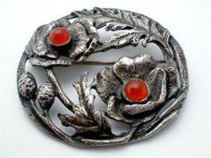 Vintage Coro August Poppy Brooch Carnelian Gemstones Signed Estate Pin | eBay