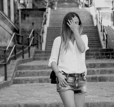 #streetstyle #fashion #outfit #denimshorts #white #shirt #look #style