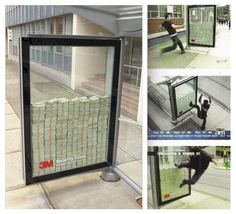 This is what i call super confidence in your own product    3 million dollars inside the glass at the bus-stop, put as advertisement by 3M, which produces bulletproof glasses.