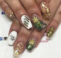 Nails Made With Weed In Them Mani Pedi Pinterest