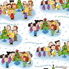 Peanuts Christmas Time Character Caroling on White 22654-ZB