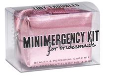 Minimergency Kit for Bridesmaids, $16.00 by @msandmrs. Contains 20 must-haves: hairspray, clear nail polish, nail polish remover, emery board, earring backs, clear elastics, sewing kit, double-sided tape, stain remover, deodorant towelette, pain reliever, tampon, breath freshener, dental floss, adhesive bandages, facial tissue, blotting tissues, bobby pins, antacid, and extra wedding bands #emergency #survival #kit #wedding #bridesmaid #gift