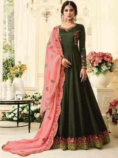 23d7100237f1e Army Green embroidered lawn kameez intricate with zari thread