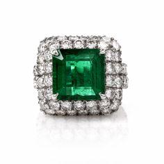 Exceptional 13.67ct Emerald Diamond Platinum Cocktail Ring Item # lil-9012