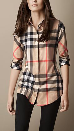 I'm not brand person (meaning I wear anything and everything that looks good on me) BUT I for some reason LOVE this Burberry Brit Stretch-cotton Check Shirt Casual Dresses, Casual Outfits, Cute Outfits, Peplum Dresses, Bandage Dresses, Cotton Dresses, Camisa Burberry, Burberry Plaid, Burberry Print