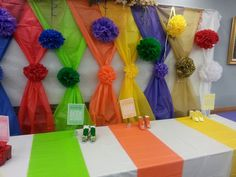 """My awesome young women in excellence night! """"Worth of 'soles' is great in the sight of God"""" Tissue pom poms, table cloths as back drops and table runners. Paper Shoes with color coordinated m&m's. So fun!"""