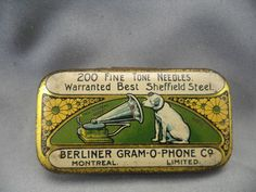 Berliner Gram-O-Phone Co. Vintage Tins, Vintage Labels, Vintage Antiques, Retro Vintage, Tribal Rose, Vintage Oddities, Altered Tins, Tin Containers, Vintage Vinyl Records