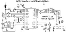 OBD2    to USB interface cable scheme and plate pinout ODB2 to USB interface cable         Electronic