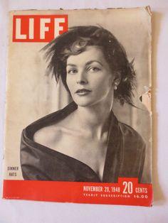 LIFE Magazine November 29, 1948 Dinner Hats Fashion Christian Dior dress
