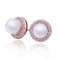 Plated 18K white gold shell pearl rhinestone crystal stud earring AEKK jewelry,Earrings Jewelry