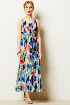 2505222694a5 Anthropologie Maeve Aloisia Watercolor Skilk Maxi Dress Sleeveless Size 16  - Silk Dress #silkdress #