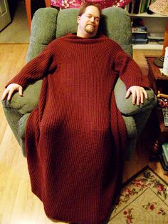 Free Knitting Pattern for Wrap-ghan - This afghan with sleeves lets you to stay warm and keep your hands free to knit, read, and so forth. Knit in two row repeat broken rib stitch. Two sizes: Child and Adult. Designed by Bernat Design Studio. Pictured project byinvisiblemandy