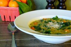 Tuscan Red Lentil Soup with Kale and Farro