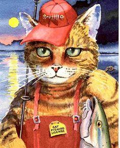 Fishing Tabby Cat Watercolor  8X10 Art Print kids by fishfanatic, $18.00