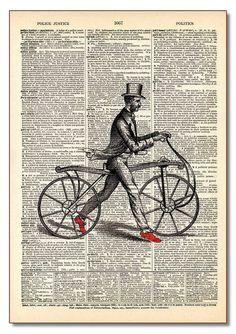 Man Walking Bike Vintage Dictionary Art Wall Art Sets, Framed Wall Art, Canvas Wall Art, Framed Art Prints, Wall Art Prints, Dictionary Art, Wooden Hangers, Vintage Bikes, Modern Wall Art