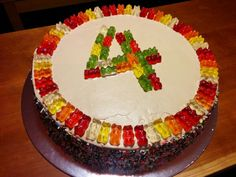 Birthday cake for my 4-year-old. Chocolate mousse, decorated with gummy bears.