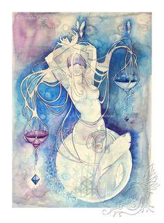Waage Sternzeichen Göttin / Air Elementals / Heilige Geometrie / Sternzeichen / Astrologie ~ Kunstdruck von Roberta Orpwood
