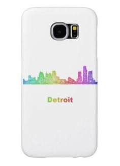 Rainbow Detroit skyline Samsung Galaxy S6 Cases $44.15 *** Rainbow city skyline of Detroit  Michigan. - Samsung Galaxy S6 case