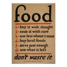 Vintage poster - Don't Waste Food Art Print by mosfunky