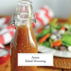 This Asian Salad Dressing is a great copycat recipe for what you get at Japanese steakhouses like Benihana or Kobe! Ginger Salad Dressing is a sweet ginger and sesame combination which can be used as a salad dressing or even a marinade! Japanese Ginger Dressing, Japanese Salad, Sesame Ginger Dressing, Sweet Asian Dressing Recipe, Ginger Salad Dressings, Salad Dressing Recipes, Ginger Asian, Japanese Steakhouse, Dips