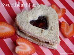 Heart-shaped food theme for the school #Valentine party: Think tea sandwiches, fruit, graham crackers & more!