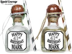 Custom Patron Mini Bottle Labels Personalized Birthday Favors Adult Guys Mens 21 30 40 50