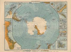 Antarctica , Colour Lithograph Map, 1922