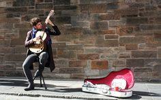 Musica, Musicista Di Strada, Chitarra, Edimburgo