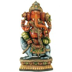 Wooden Ganesha Sculpture with Bright Color Painting Work.