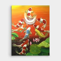힘차게 뛰어오르 잉어를 그려낸 작품입니다.     만약 잉어가 용문을 넘게 되면 용으로 변해 하늘로 승천한다. 라는 의미로 입신과 출세를 뜻하는 등용문이라는 단어가 있는데요,     그 어원이 된 장면을 나타낸 그림입니다. #잉어그림 #구어도 #비단잉어그림 Koi Carp, Animals And Pets, Disney Characters, Fictional Characters, Birds, Fish, Disney Princess, Abstract, Flowers