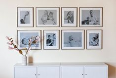 wall gallery of black and white photos by Lena Hyde Wall Collage, Framed Wall Art, Picture Wall, Photo Wall, Family Pictures On Wall, Family Photos, Picture Arrangements, A Frame House, Inspiration Wall