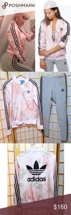748d81e1af4 2PC💖Adidas Pink Floral Track Jacket Leggings Set Super rare discontinued  print Leggings seen on