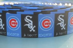 CHICAGO CUBS WHITE Sox Printed ribbon or bow by TheRibbonObsession