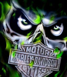 Green Harley Davidson skull