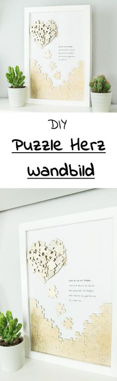 Tinker puzzle heart mural - beautiful DIY gift idea- Puzzle Herz Wandbild basteln – schöne DIY Geschenkidee DIY puzzle heart mural – beautiful gift idea for Valentine& Day or Mother& Day and a nice decoration in the living room …. Diy Wedding Presents, Wedding Gifts, Upcycled Crafts, Valentines Day Decorations, Valentine Day Gifts, Diy Pinterest, Thrift Store Crafts, Décor Boho, Idee Diy